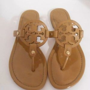 Tory Burch Miller Patent Leather Sandals Tan
